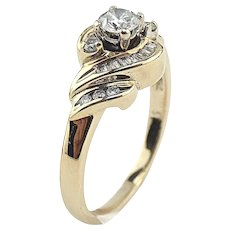 14K Yellow Gold 1/2 CTW Diamond Ring Size 6 3/4
