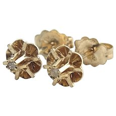 14K Yellow Gold Diamond Chip Stud Earrings