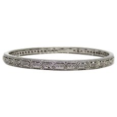 Contemporary Chinese Designer ISP Sterling Silver Diamond Accents Bangle Bracelet