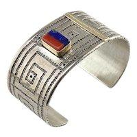Vernon Begaye Native American 14K & Sterling Silver Lapis & Coral Cuff Bracelet