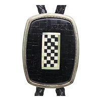Kewa Laguna Charlie Bird Sterling Silver Mosaic Bolo Tie Necklace
