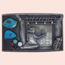 Deceased Ramone Platero Sterling Silver Turquoise Rug Weaver Belt Buckle