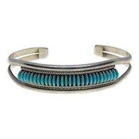 Multi Award Winning Zuni Artist Edith Tsabetsaye Native American Sterling Silver Turquoise Cuff