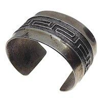 Kewa Sedalio Fidel Lovato Sterling Silver Geometric Greek Key Tufa Cast Cuff Bracelet