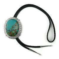 Massive Native American Chinese Turquoise Bolo Tie Necklace