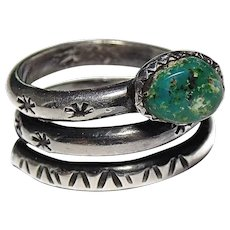 Native American Navajo Sterling Silver Turquoise Coiled Snake Design Ring Size 6.5