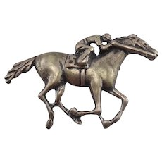Sterling Silver Equestrian Racing Horse Derby Pin