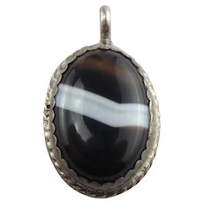 Signed LL Native American Sterling Silver Banded Agate Pendant