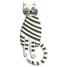 Very Large Sterling Silver Striped Cat Pin
