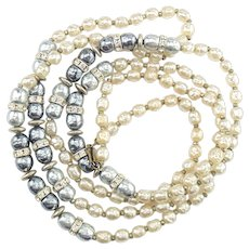 Signed Miriam Haskell White & Gray Simulated Pearl Rhinestone Beaded Necklace