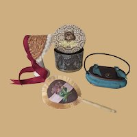 Beautiful Miniature Fan, Sewing Basket and Bonnet with Hat Box