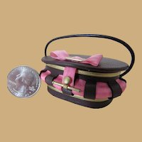Miniature Leather and Silk Sewing Basket or French Fashion Doll Purse