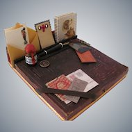 Miniature Boys Student Desk Set with Gem Photo, Handmade Book, Ink Bottle and Pen