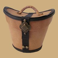 Miniature Gentleman's Leather Hat Box Buff with Black Trim