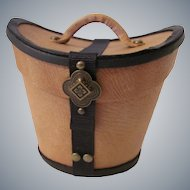 Miniature Gentleman's Leather Hat Box Buff with Black Trim