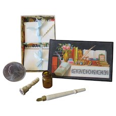 Antique Style Miniature Box of Stationery with Writing Set