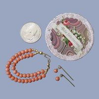 Miniature Coral Necklace Earrings in Tiny Round Carton for your Poupee