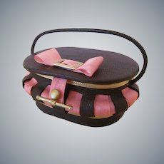 Miniature Leather Sewing Basket or Purse