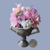 Lovely Little Bouquet in Vintage Silvered Cup