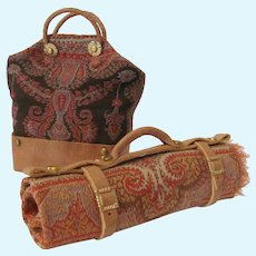 Miniature Wool Tapestry Valise or Carpet Bag and Carriage Blanket