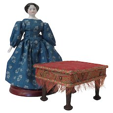 Petite Footstool with Embossed Antique Velvet Cushion