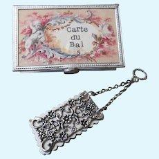 Exquisite Miniature Silver Dance Card and Presentation Box