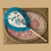 """4"""" Silk Fan with Antique Bone Handle for your French Fashion Doll"""