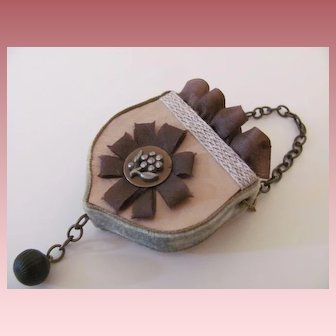 Artist Made Purse with Antique Steel Button for French Fashion Doll