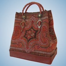 Antique Textile Artist Made Valise or Carpet Bag for French Fashion Doll