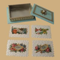 """Beautiful Miniature Victorian Style Boxed Set of Calling Cards in """"Huret Green"""""""