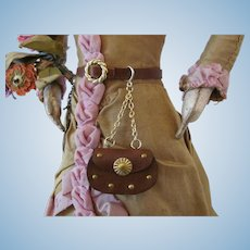 Miniature Leather Chatelaine Style Hip Purse