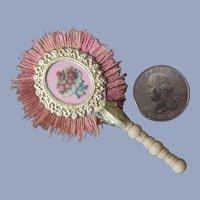 """Miniature 3"""" Silk and Bone French Fashion Doll Fan"""