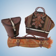 Three Piece Travel Set Valise, Carriage Blanket and Gent's Hat Box