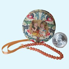 Miniature Coral Necklace in Tiny Round Carton for your Poupee