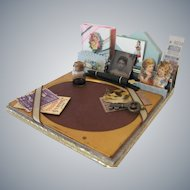 Antique Style Student Desk Set for your Little Miss, Miniature Book, Stationery and Gem Photo