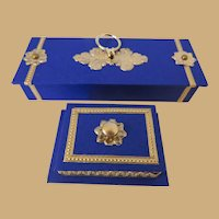 Antique Style Miniature Glove Box and Jewelry Casket in Lapis Blue