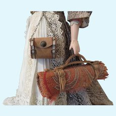 Miniature Carriage Blanket and Chatelaine Style Hip Purse for your French Fashion Doll