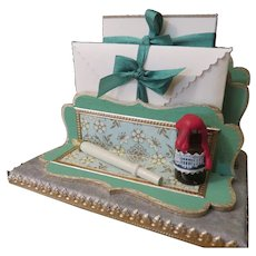 Miniature Stationery Set Letter Holder with Pen and Ink Bottle