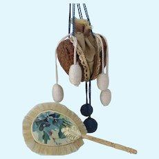 Darling Antique Style Walnut Purse and Bone Handle Fan