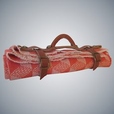 Miniature Picnic or Carriage Blanket in Leather Carrying Strap