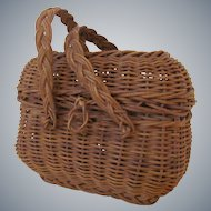 "4 1/2"" wide  3 3/4"" high Antique French European Doll Basket"