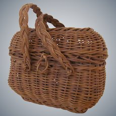 """4 1/2"""" wide  3 3/4"""" high Antique French European Doll Basket"""