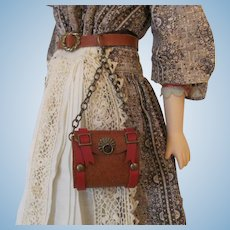 Leather Chatelaine Style Hip Purse for French Fashion Doll