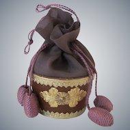 Miniature Drawstring Sewing Basket or Reticule Purse