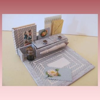 Miniature Desk Set with Stationery and Book