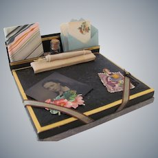 Miniature Ladies Stationery Desk Set with Book, Gem Photo and Cards