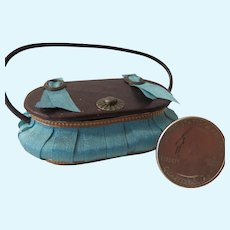 Miniature Silk and Leather Sewing Basket