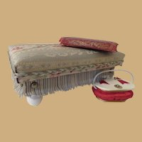 Fashion Doll Scale Aqua Tapestry  Ottoman or Footstool