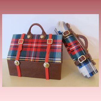 Lovely Travel Valise or Sac du Voyage and Carriage Blanket