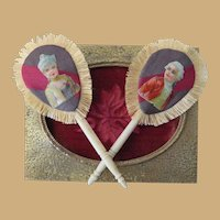 Exquisite Set of Miniature Bone Handle French Fashion Doll Fans